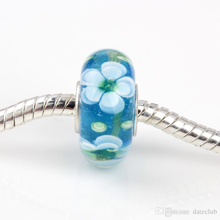 Pandora Bracelets Beads 925 pure silver ALE stamped thread core murano glass beads mix lampwork glass beads big hole Murano Glass Charm Bead
