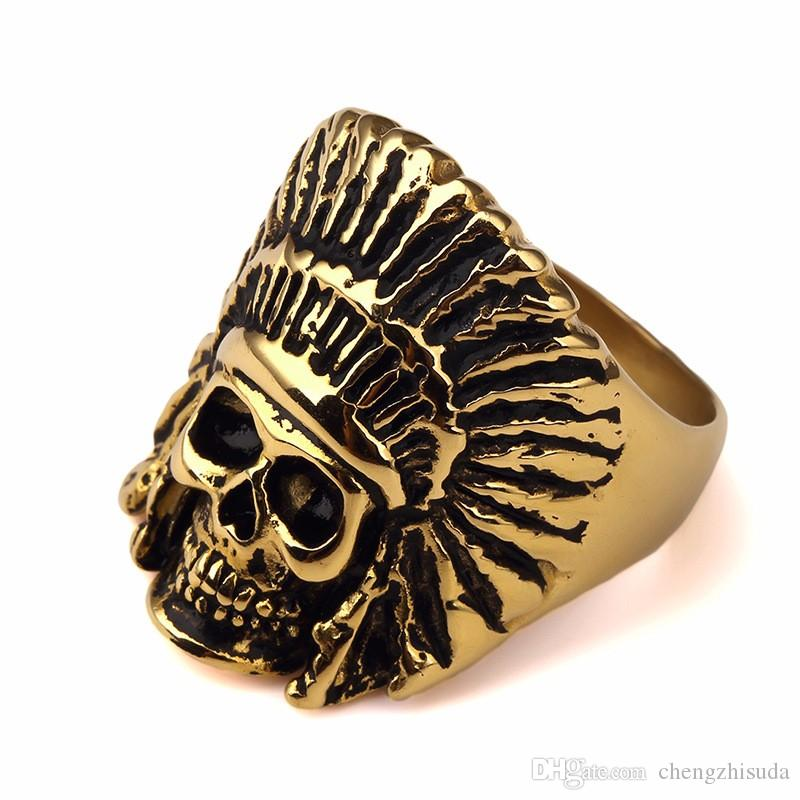 2018 New Design Tribe Gold Steel Apache Indian Chief Head Ring ...