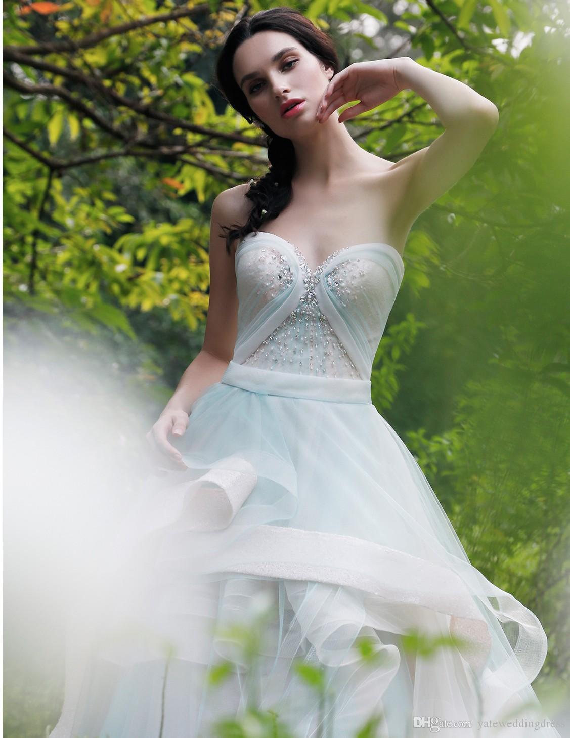 2016 elegante Prom Kleider Schatz Sleeveless Abendkleider Tiered Rüschen Zurück Reißverschluss Sweep Zug Nach Maß Vestidos De Noiva