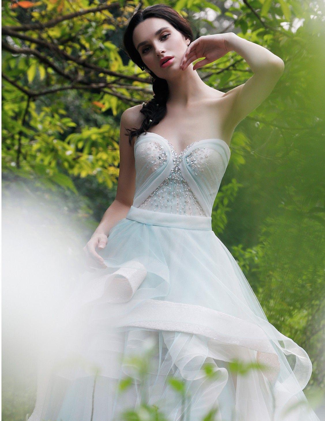 2016 Elegante Vestidos De Baile Querida Sem Mangas Vestidos de Noite Em Camadas Ruffle Voltar Zipper Trem Da Varredura Custom Made Vestidos De Noiva