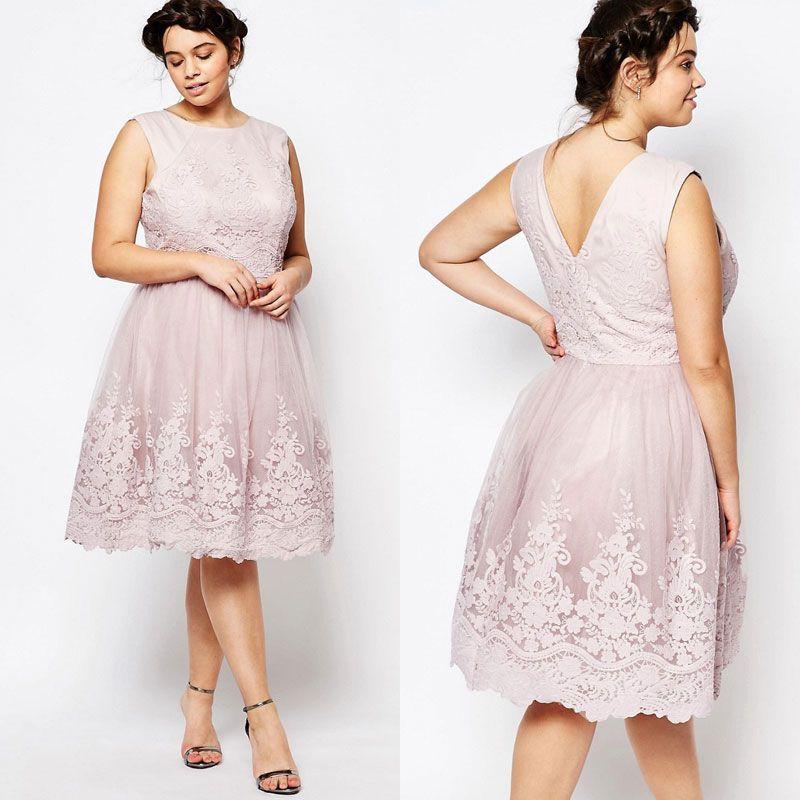 3776e13c32cb2 Classy Lace Appliqued Plus Size Prom Dresses Jewel Neckline A Line Backless Formal  Dress Knee Length Tulle Evening Gowns Plus Size Juniors Plus Size Party ...