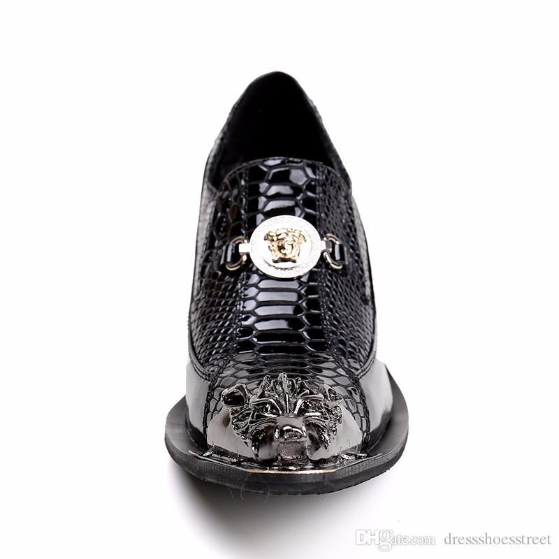 Top Qualité Métal Toe Zapatos Hombre Clouté Toe Bout Hommes Robe Chaussures Partie Slip Sur Oxford Chaussures pour Hommes