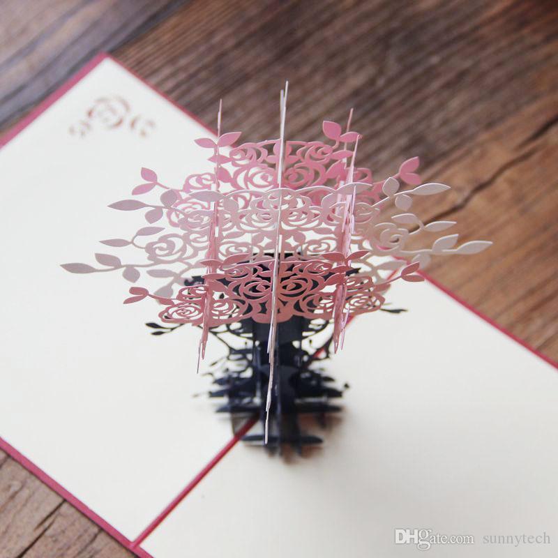 Pieghevole 3D Flowerpot Craft Laser Cut Pop Up Artigianato di carta Festival saluto Favore di partito e carta regalo Cartolina ZA1251