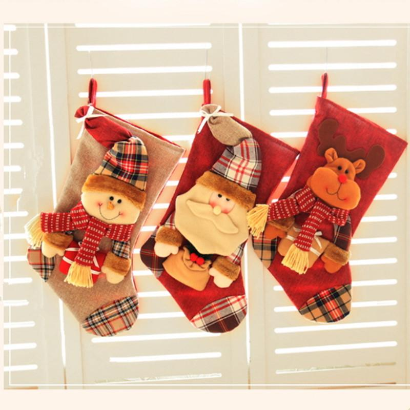 large christmas decoration candy stockings big size thick party decorative socks gifts bags xmas tree hanging oranments claus elk decor christmas table - Christmas Decorations For Stockings