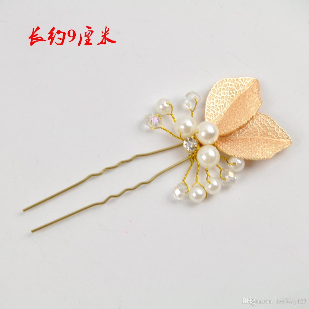 Wedding Accessories Golden Bridal Pearl Hairpins Flower Crystal Rhinestone Hair Pins Clips Bridesmaid Women Hair Jewelry clip&pin