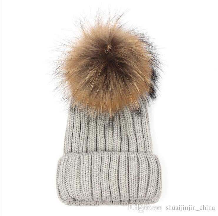 جودة القابل للإزالة ريال المنك فرو الثعلب بوم بوم الكرة الاكريليك بيني شتاء دافئ عادي القبعات الكبار مترهل رجل إمرأة الثلج الدافئ قبعة LJJA530
