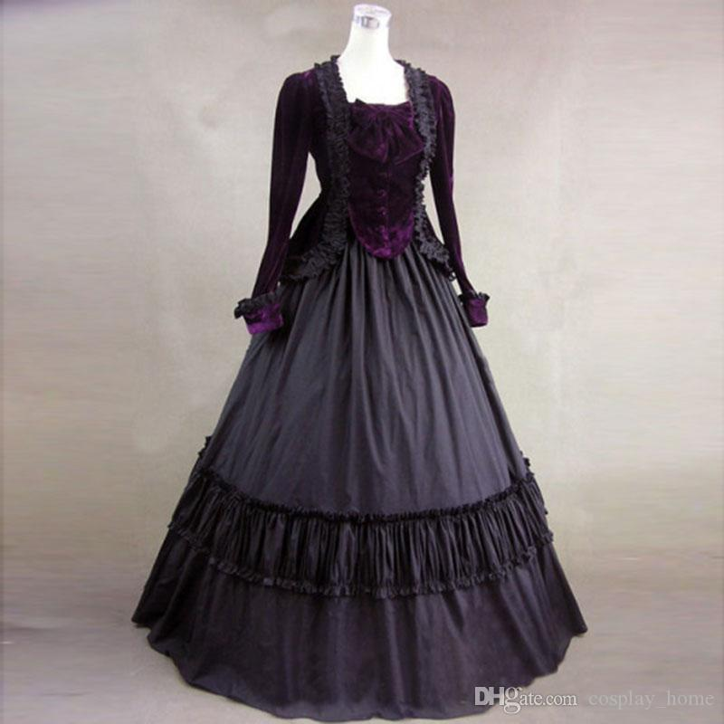 e811a3e3d41 2017 Brand New Elegant Purple And Black Long Sleeve Vintage Medieval Gothic  Victorian Ball Gown Halloween Party Dress Online with  137.73 Piece on ...