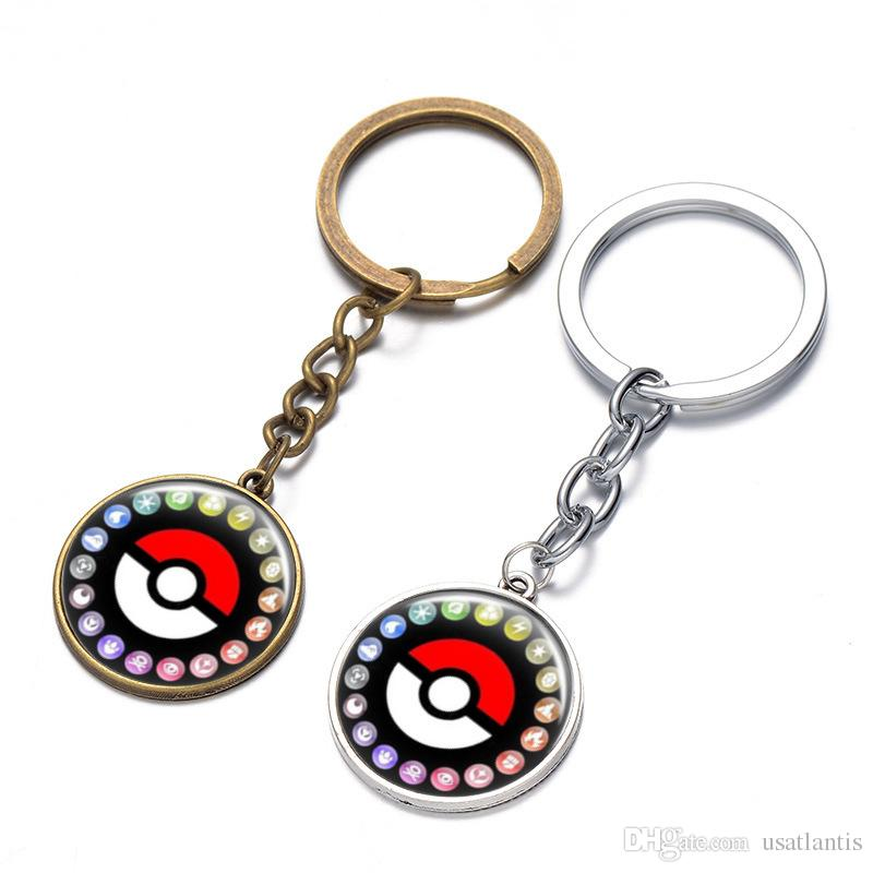 anime Pocket Monster demon keychain cabochon Time gem key ring keyring pendants men women bags hang jewelry Bronze silver BY DHL 170583