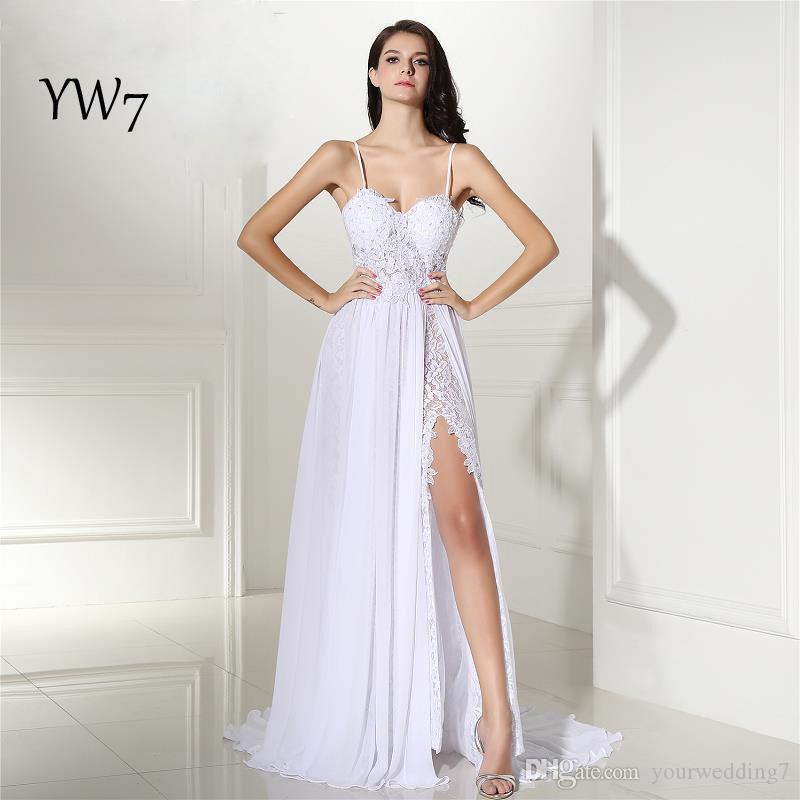 Compre seu wedding7 beach lace wedding dress cheap 2017 split ver imagem maior junglespirit Gallery