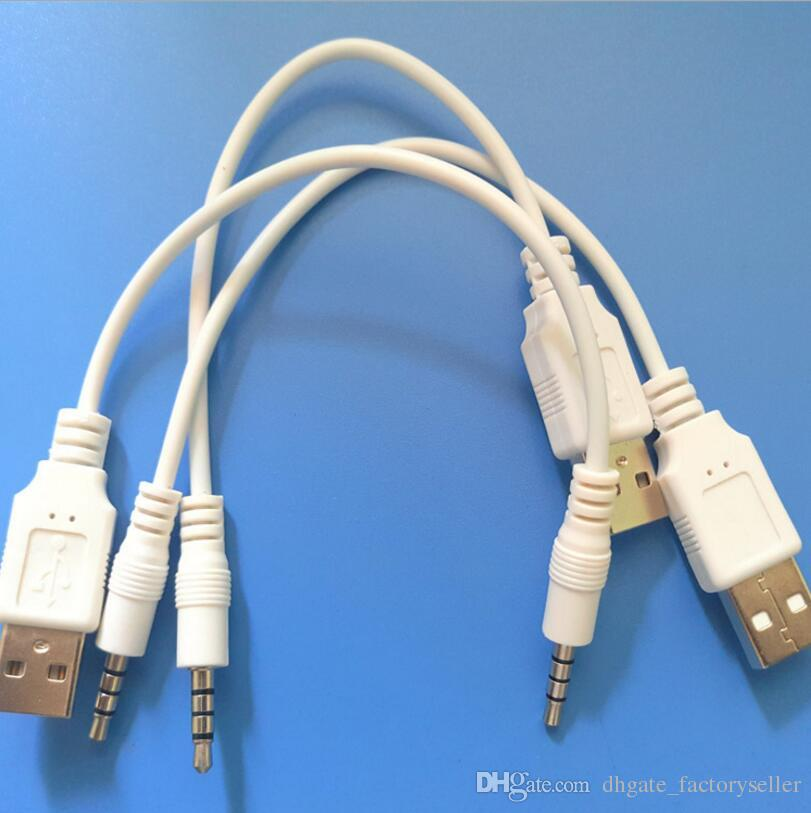 3.5mm AUX Audio to USB 2.0 Male Data Sync Charge Cable Adapter Cord For MP3 MP4 Phone Audio Cable