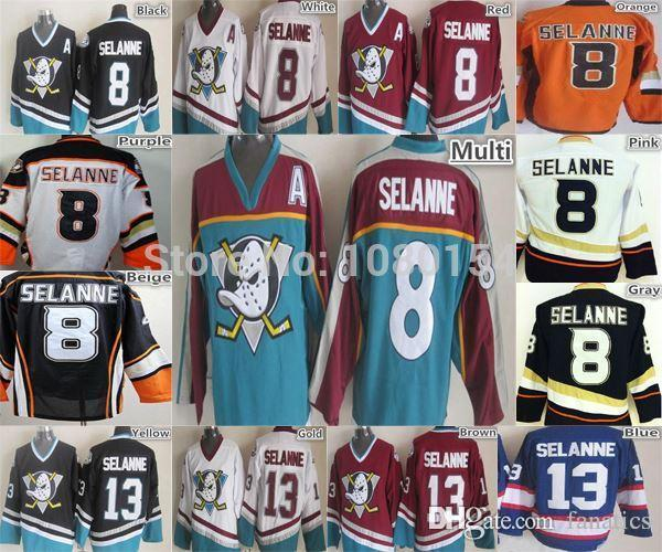 2018 2016 8 Teemu Selanne Anaheim Ducks Jersey Orange Black White Purple  Vintage Throwback Ccm Mighty Ducks Hockey Shirt Men'S 13 Winnipeg From  Fanatics, ...