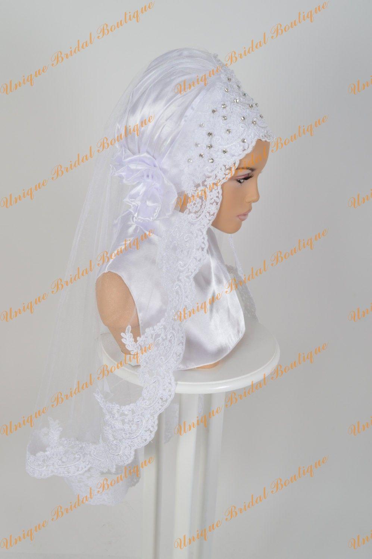 2016 velos de novia musulmán con cristales de diamantes de imitación y apliques de encaje bordeado corta hijab hijab hecho a medida