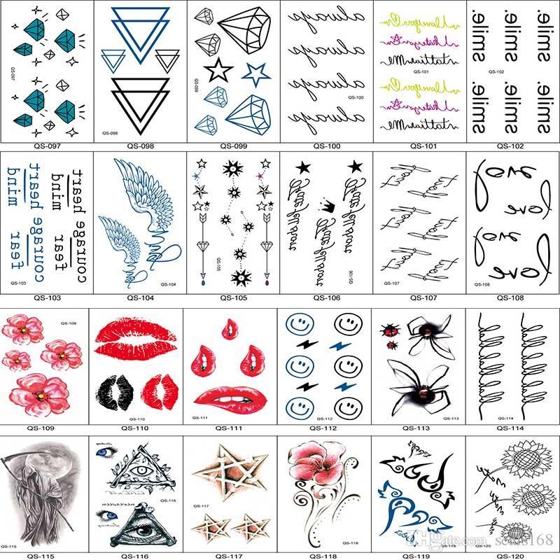200 نمط ملصقات الوشم ماء الجسم فن الوشم ملصقات النساء الرجال مجوهرات هدايا الصحة الجمال المنتج HH-S17