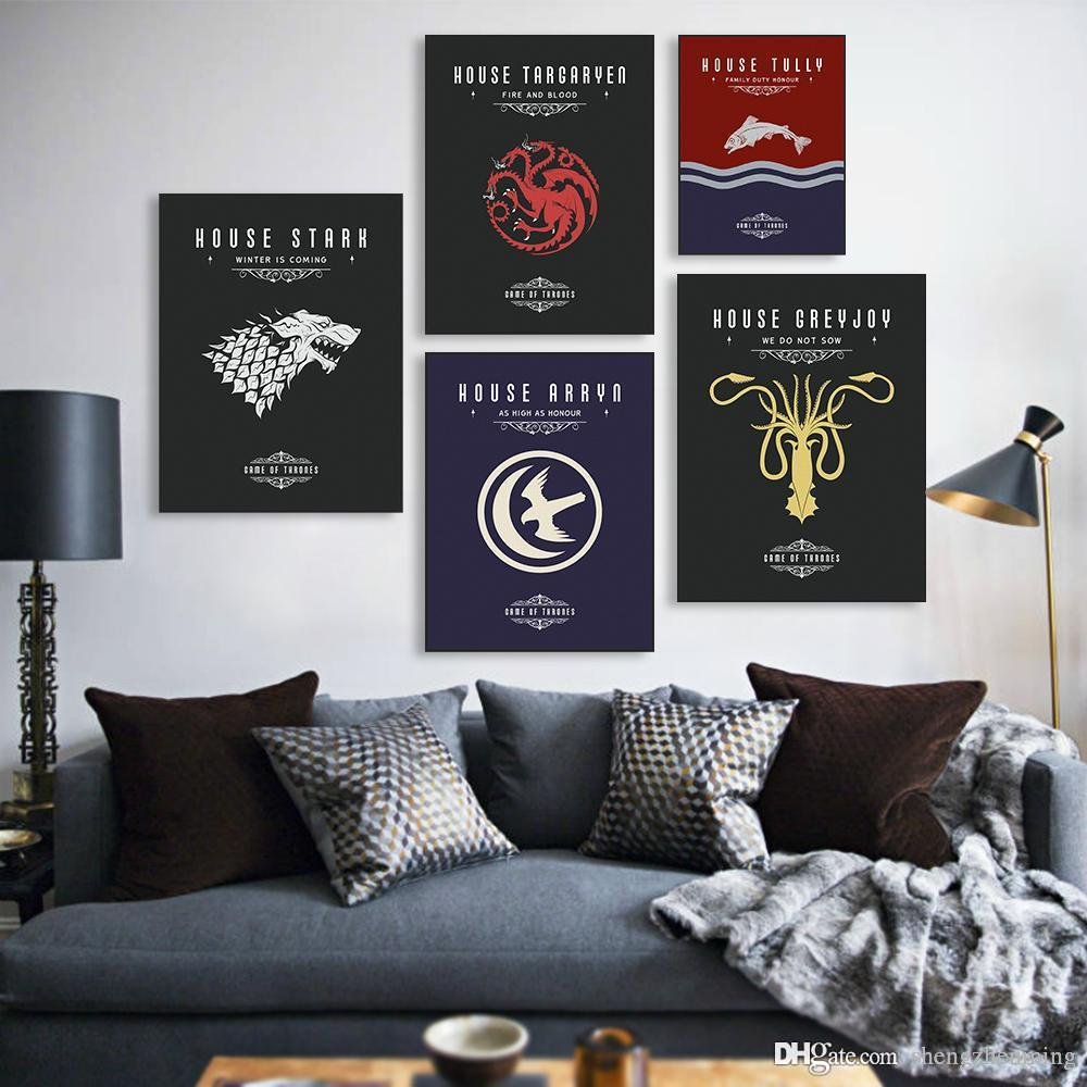 2018 Game Of Thrones A4 Movie Tv Poster Vintage Wall Art Canvas Prints Living Room House Pictures Painting Modern Home Decor No Frame From Shengzhenming