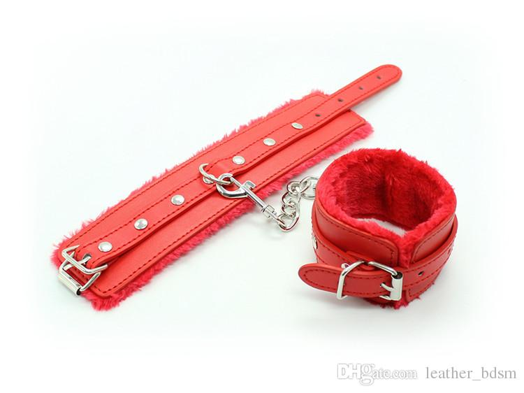 Locking Restraint PU Leather Premium Fur Lined Handcuffs Slave Roleplay bondage Flirting Adult Sex Games