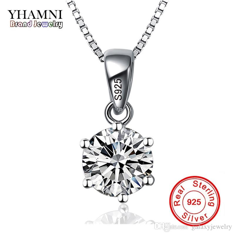 YHAMNI Fashion 6 Claws Luxury CZ Pendant Necklace with 1ct 6mm Cubic Zirconia 925 Sterling Silver Necklace Women XN6
