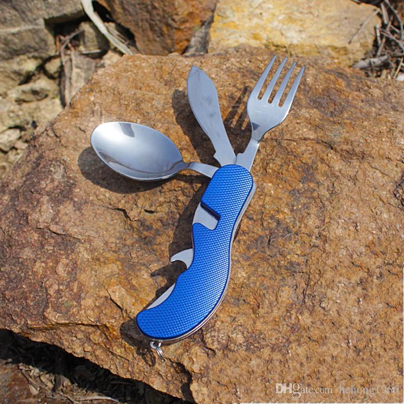 Set di posate in acciaio inox pieghevole coltello forchetta cucchiaio apri bottiglia vestito da viaggio all'aperto strumento picnic stoviglie portatile 7 8sy F R