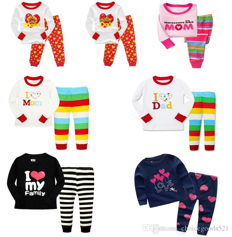 b9002d4fac Kids Pajamas Girls Long Sleeve Stripe Children Pajamas Sets T Shirt+Pants  Letter I Love Mom Dad  L Pjs For Boys Boys Holiday Pajamas From  Choicegoods521
