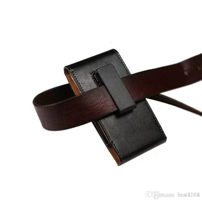 HIP Flip Couvre Holster Vertical Clip Véritable Etui en cuir véritable pour iPhone 12 11 XR XS 7 6 SE 5 GALAXY S20 NOTE 20 LG STYLO6 360 Pochette de ceinture