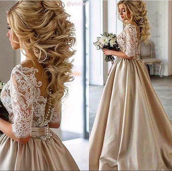 2019 Ange Etoiles Vintage Lace Stain Champagner Halbarm Prom Kleider schiere Hals bedeckt Bottom Günstige Dubai arabischen Anlass Kleid