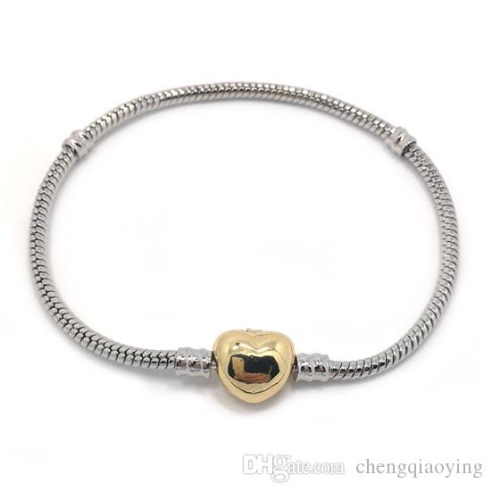 العلامة التجارية الجديدة عالية الجودة 100٪ لوحة الأفعى مطلي 100٪ 24 كيلو الذهب مطلي القلب شكل المشبك سوار صالح الأزياء باندورا سوار diy