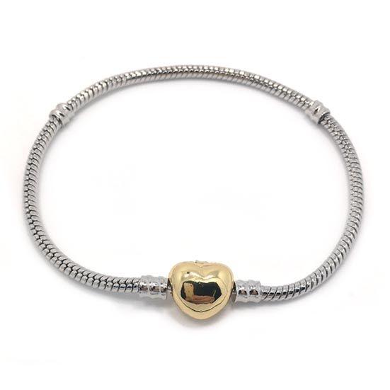 Nouvelle marque de haute qualité 100% plaqué plaqué serpent chaîne 100% 24k plaqué or coeur forme fermoir bracelet ajustement mode pandora bracelet bricolage