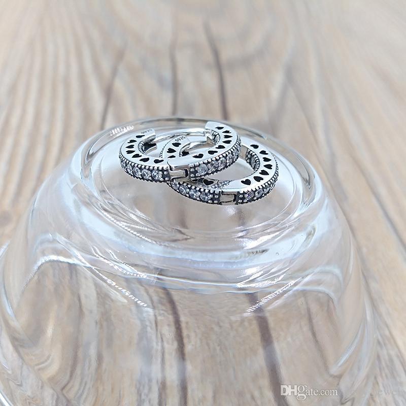 Autentici orecchini in argento sterling 925 con cuori di orecchini a cerchio Pandora adatti gioielli con borchie stile Pandora europeo 296317CZ