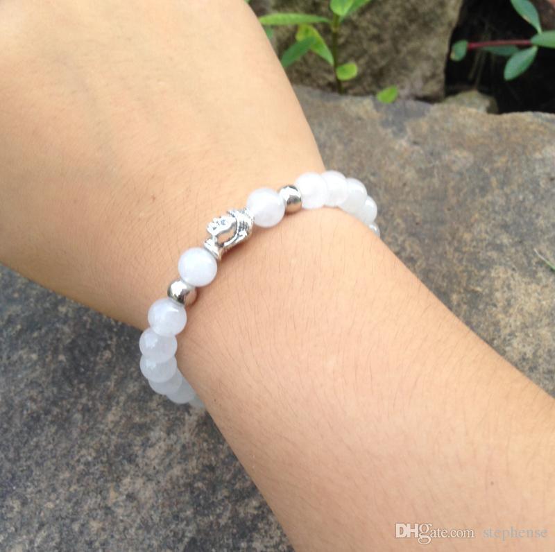 SN0385 hot sale natural natural pulseira de prata pulseira de prata buddha trecho mala yoga jóias sorte pulseira de presente