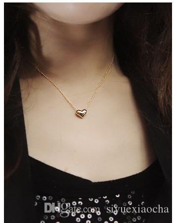 Collar de clavícula de oro y plata con colgante de amor, amor de frijol, con material de aleación, calidad muy barata pero hign, envío gratis
