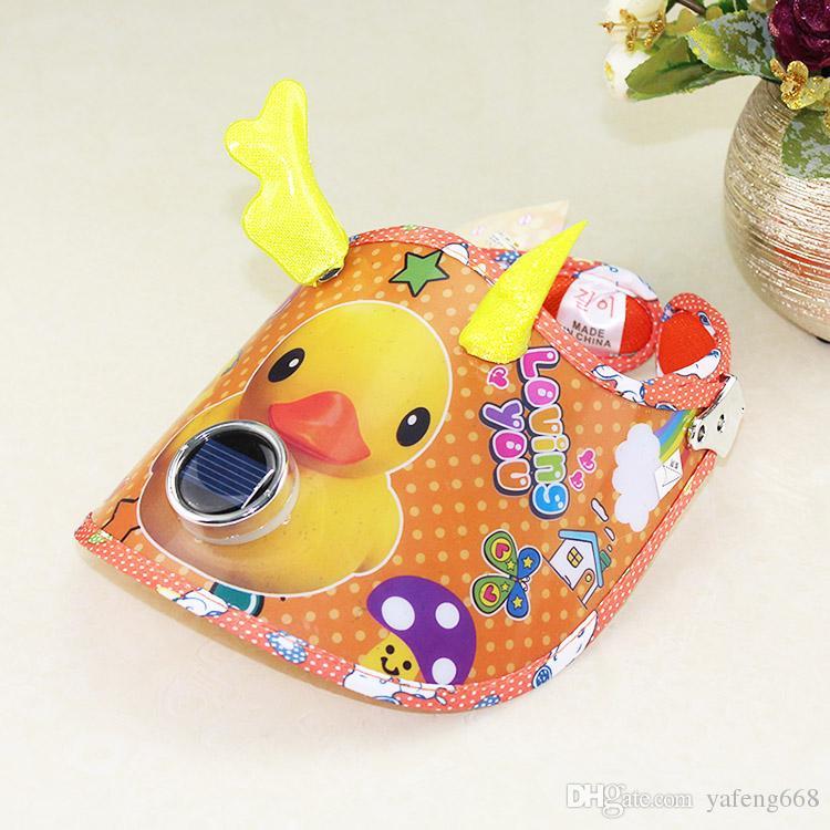 Through small yellow summer children solar fan hat card empty plastic duck visor sun hat