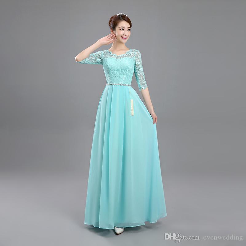 Scoop Neck Lace Chiffon vestido de dama de honor con medias mangas 2019 Nuevo vestido de fiesta de bodas largo azul lago
