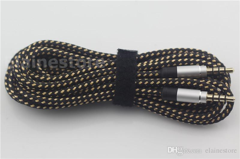 разъем автомобиль Braid Aux Cable Несломанным металл аудио удлинитель кабель 3M 10FT 3.5MM мужчины универсальный для мобильных телефонов, планшетные ПК, Ipod