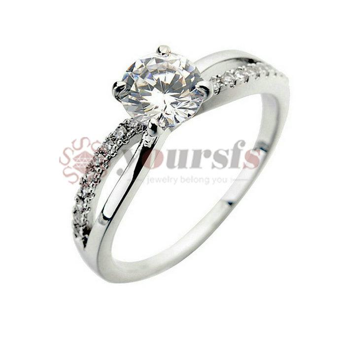 Yoursfs Unique 18 K White Gold Plated Rhinestone Cross Band Use Austrian Crystal Trendy Wedding Rings for Women Gift Fashion Jewelry Size 7