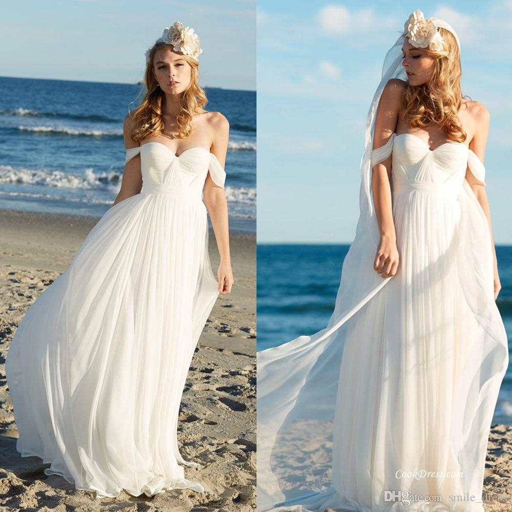 Discount Cheap Beach Boho Wedding Dresses A Line Off The Shoulder ...