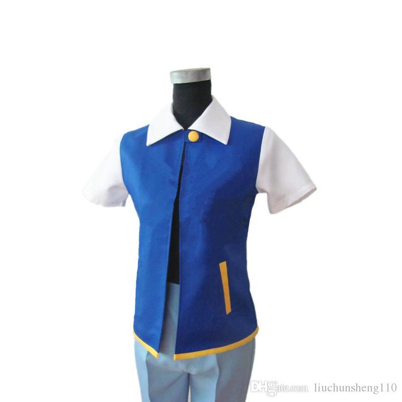 Hot! Costume d'Halloween Ketchum Trainer Halloween Cosplay Unisen Shirt Veste + Gants + Chapeau Original Véritable Bleu