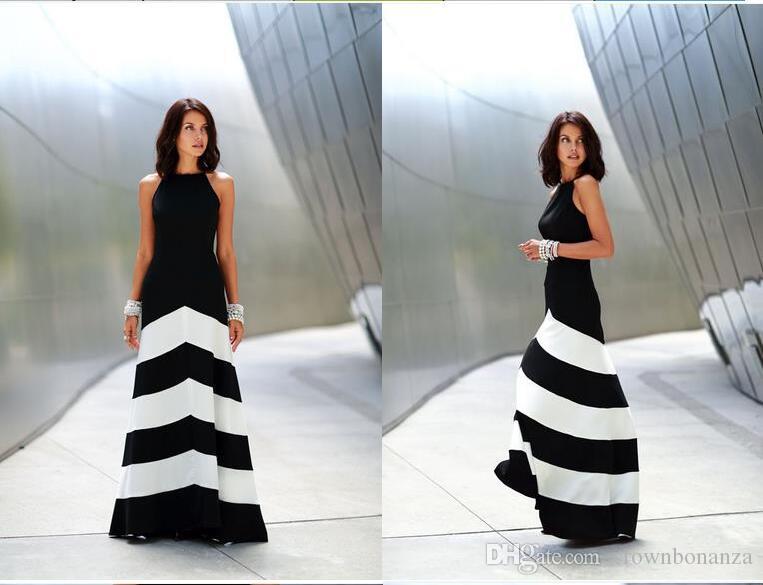 검은 색과 흰색 줄무늬 맥시 드레스 womens backless 드레스 여름 드레스 공식 드레스 저녁 섹시한 숙녀 줄무늬 긴 맥시 이브닝 드레스
