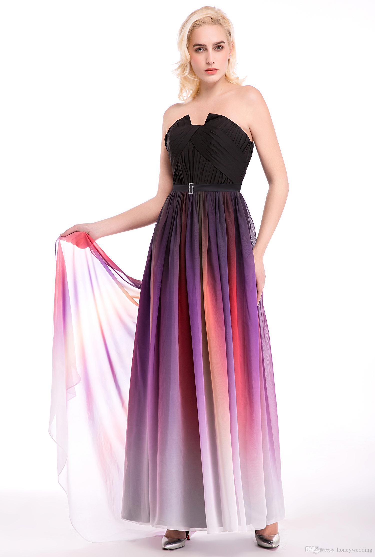 Großhandel 9 Lange Abendkleider Gradienten Chiffon Plissee Bodenlangen  Günstige Formale Prom Party Runaway Dress Ombre Prom Kleider Billig Auf