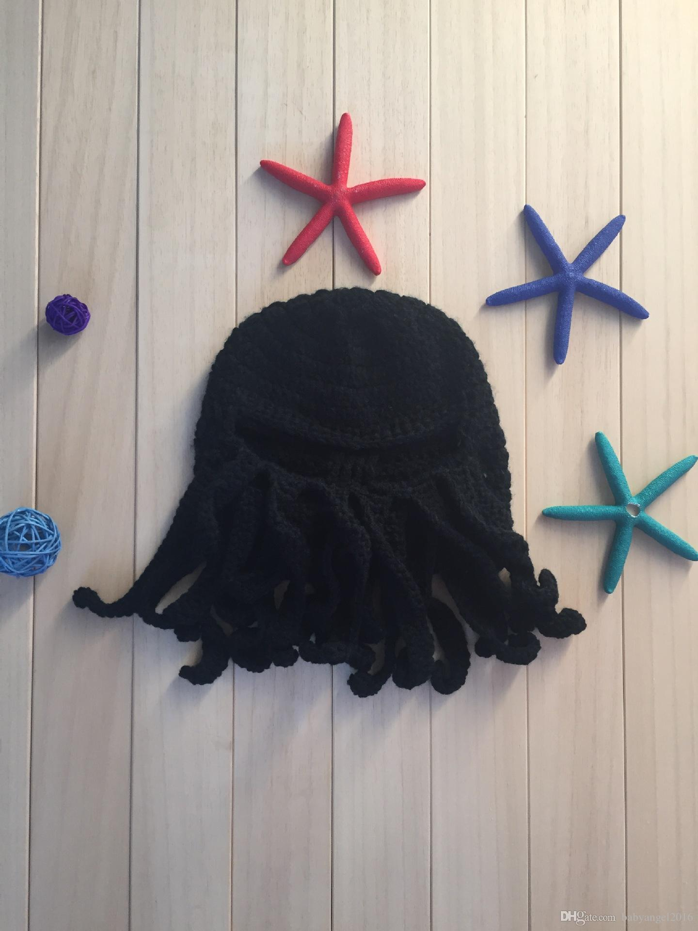 Unisex Octopus Beanie Squid Cap Tentacle lavorato a maglia di lana Ski Face Mask Knit Hat Sea Monster Crochet Beanie Cthulhu Octopus Caps Halloween