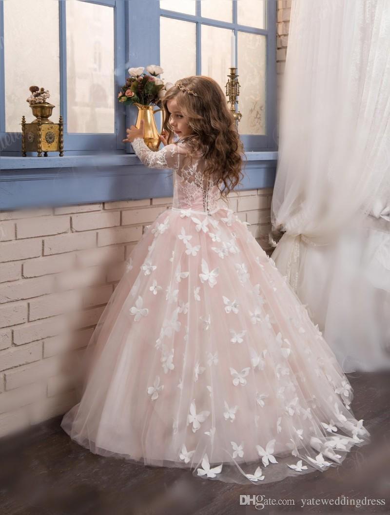 Ivoor witte bloem meisje jurken juweel lange mouwen met vlinder applique pageant jurken rug rits tiered ruche op maat gemaakte feestjurk