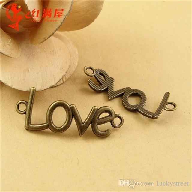 A2429 40 * 16 MM Bronce antiguo Vintage palabra doblada charm, charm de mensaje, accesorios de cuentas colgantes accesorios de encanto de amor, bricolaje joyas retro