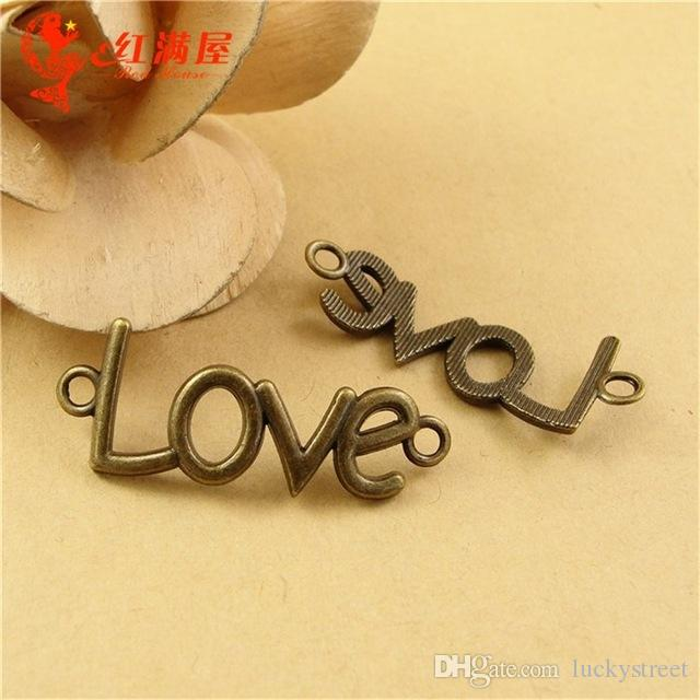A2429 40*16MM Antique Bronze Vintage bent word charm, message charm, Love charm connector pendant beads accessories, DIY retro jewelry