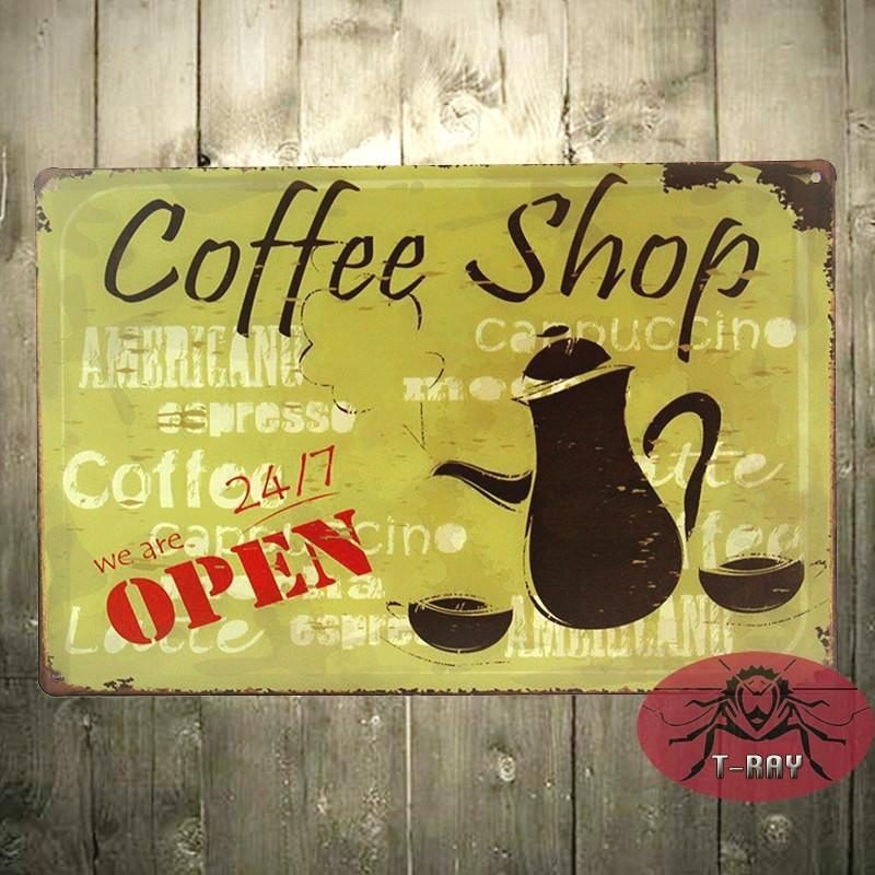 Tin Sign Coffee Shop Open Metal Wall Art Store Farm Shop Kitchen ...