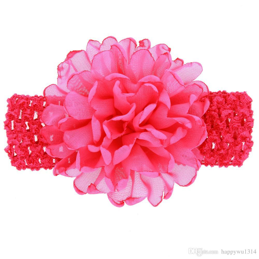 Childrens Hair Accessories Chiffon Flowers Crochet Headbands Baby Girls 4Inch Chiffon Flowers for Headbands Infant Babies Elastic Hairbands