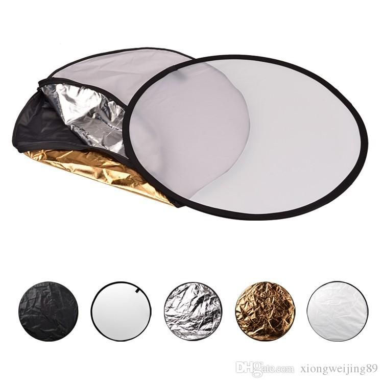 24 pouces 60 cm 5 en 1 portable pliable lumière ronde photographie réflecteur photo pour disque multi photo studio