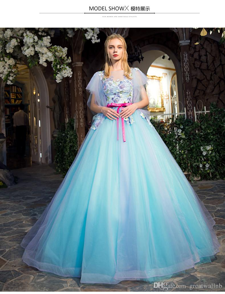 Light Blue Luxury Medieval Dress Butterfly Sleeve Bead Ball Gown ...