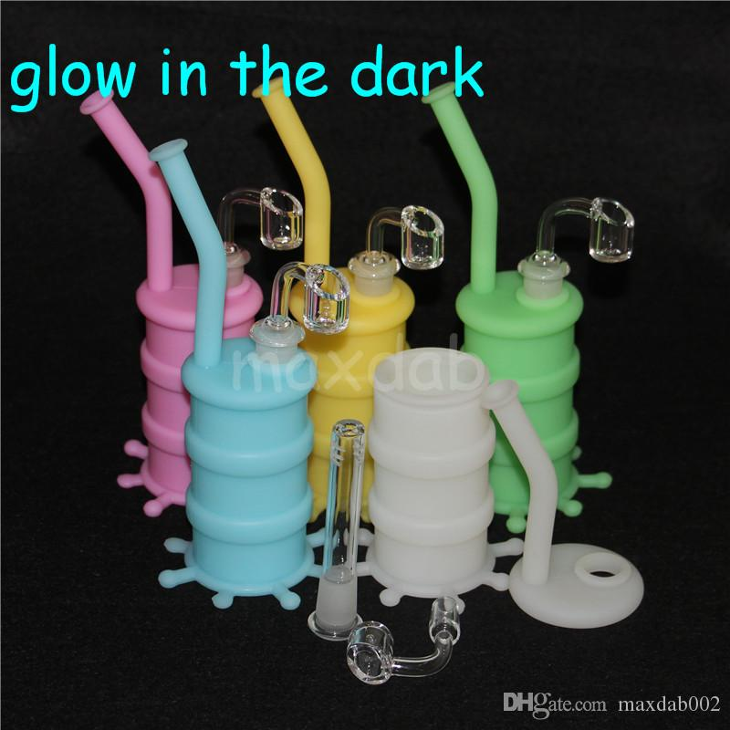 glow in the dark Silicone Barrel Rigs Mini Silicone Rigs Dab Jar Bongs Jar Water pipe Silicon Oil Drum Rigs DHL