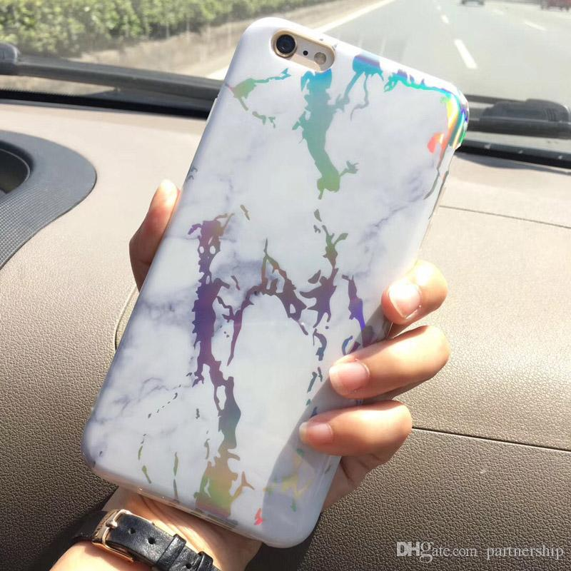 774eca8e598b2 Colorful Creative Rainbow Marble Pattern Style Full Print Smooth Durable  IMD Soft TPU Cover Case for iphone X 10 7 6 6S Plus