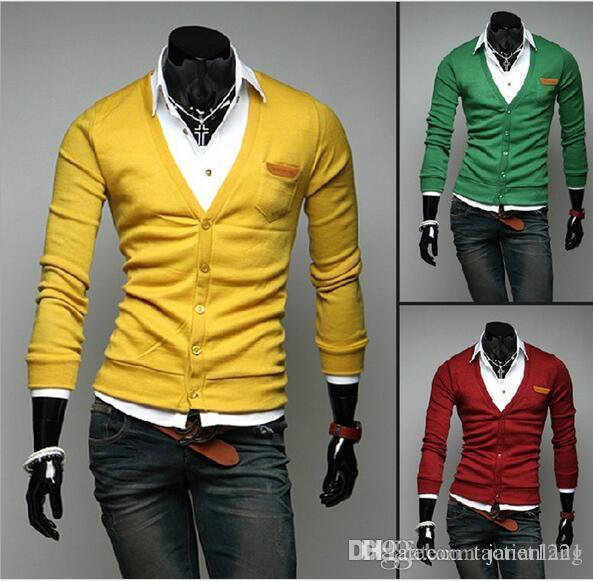 2018 V Neck Mens Sweater Autumn Wear Cardigan British Knitwear ...