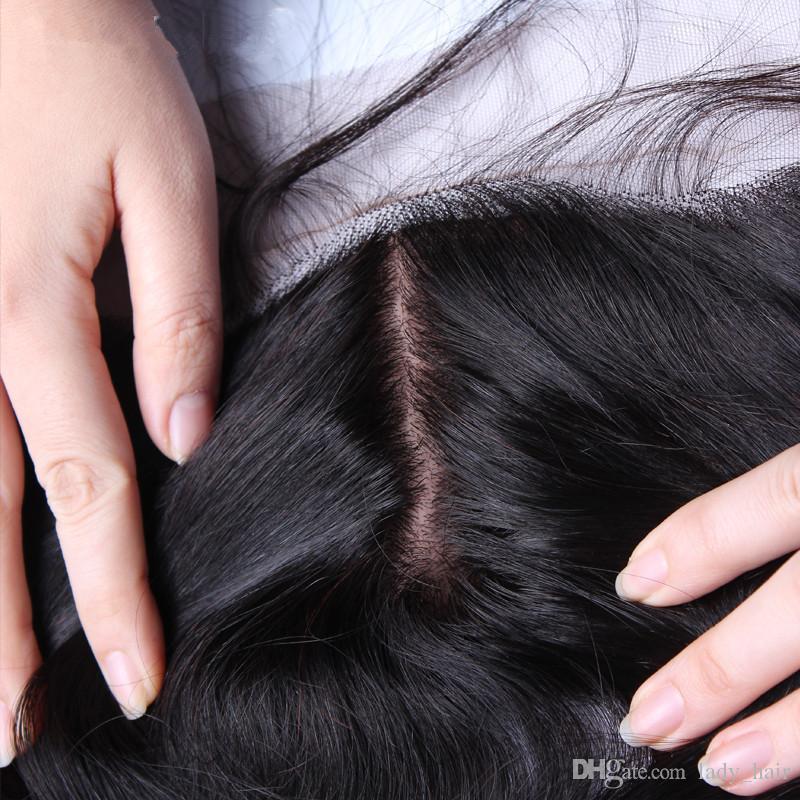 Brasilianisches reines Haar tiefe Welle 4x4 Seide Base Lace Frontal billig Seide Top Lace Frontal 13x4 tiefe Welle Seide Frontal Closure gebleichte Knoten