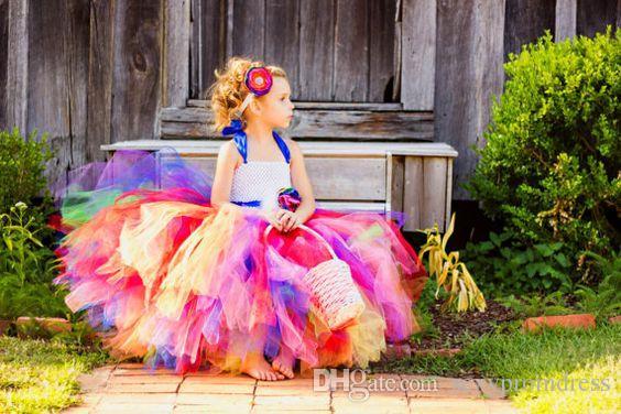 Coloré Arc-En-Halter Filles Pageant Robes 2016 Tulle Robe De Bal Fleur Filles Robes Avec Des Fleurs À La Main Enfants De Noël Vêtements De Cérémonie